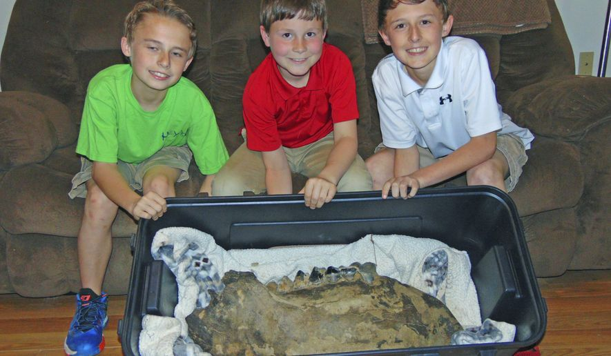 In this Monday, March 19, 2018 photo, Shawn Sellers, left, Michael Mahalitc and Caid Sellers, display the lower left jawbone of a mastodon they found in a plowed up area of their family's property in the Bovina area in Vicksburg, Miss.  (John Surratt/The Vicksburg Post via AP)