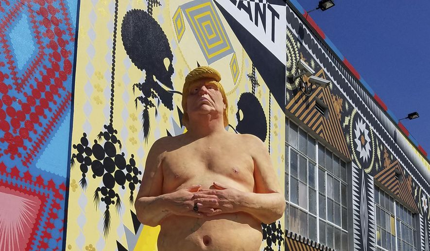This undated image provided by Julien's Auctions shows a naked statue of Donald Trump that is going up for auction that will take place May 2, 2018, in Jersey City, N.J. (Julien's Auctions via AP)