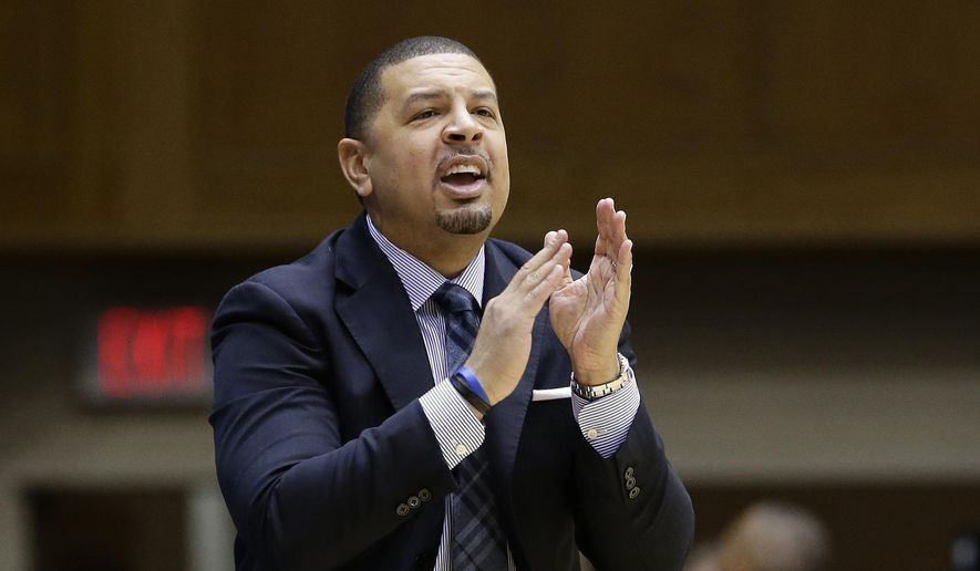 FILE - In this Jan. 13, 2018, file photo, Duke associate head coach Jeff Capel directs the team during the first half of an NCAA college basketball game against Wake Forest, in Durham, N.C. Pittsburgh is turning to Jeff Capel to turn around its struggling basketball program. A person with direct knowledge of the agreement tells The Associated Press that Capel will take over Kevin Stallings, who was fired earlier this month. The person spoke on the condition of anonymity because the deal was not formally announced. (AP Photo/Gerry Broome, File) **FILE**