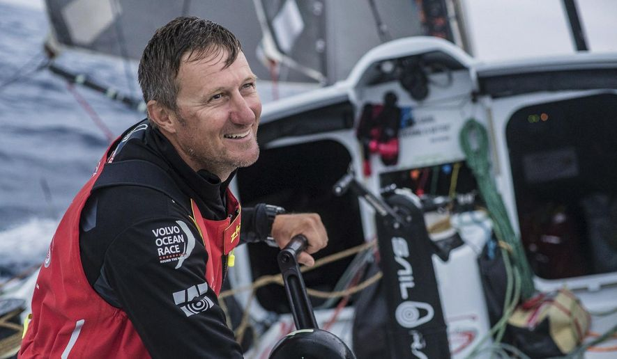This is a Oct. 27, 2017 handout photo provided by Volvo Ocean Race of sailor John Fisher on board the Sun Hung Kai/Scallywag on day 6, during Leg 1 of the  Alicante to Lisbon race. Volvo Race officials said late Monday, March 26, 2018 that chances of finding a missing sailor were rapidly fading in the harsh, remote Southern Ocean some 1,400 miles west of Cape Horn. (Jeremie Lecaudey/Volvo Ocean Race via AP)