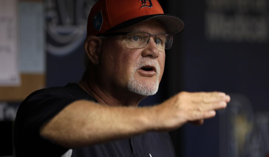 Detroit Tigers manager Ron Gardenhire gestures as he talks to his players during the first inning of a spring training baseball game against the Tampa Bay Rays Tuesday, March 27, 2018, in St. Petersburg, Fla. (AP Photo/Chris O'Meara)