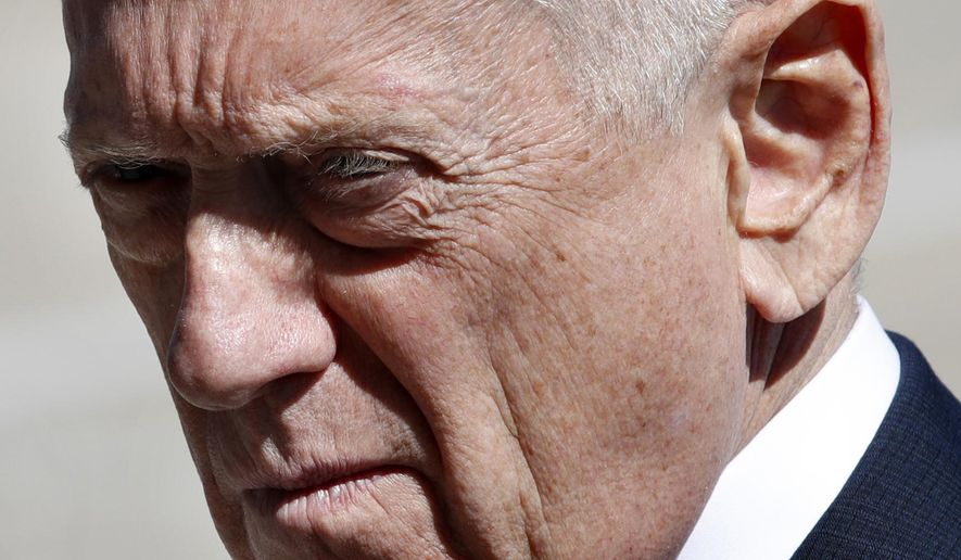 Secretary of Defense Jim Mattis awaits the arrival of Indonesia's Minister of Foreign Affairs Retno Marsudi, Monday, March 26, 2018, at the Pentagon. (AP Photo/Jacquelyn Martin)