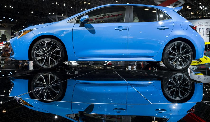 The 2019 Toyota Corolla Hatchback is shown, Wednesday, March 28, 2018, at the New York Auto Show. (AP Photo/Mark Lennihan)