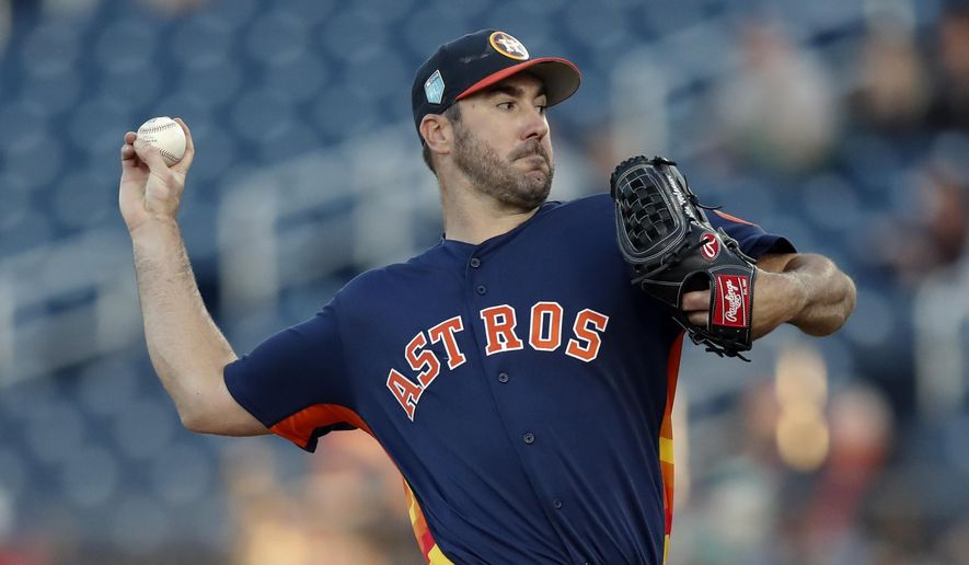 FILE - In this March 9, 2018, file photo, Houston Astros starting pitcher Justin Verlander (35) works in the first inning of a spring training baseball game against the St. Louis Cardinals, in West Palm Beach, Fla. Verlander will be on the mound Thursday, March 29, in a season opener against Cole Hamels and the Texas Rangers. (AP Photo/John Bazemore, File)