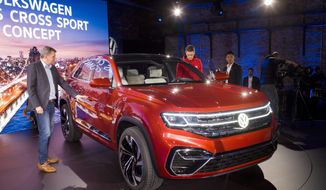 A five-passenger SUV concept is unveiled by Volkswagen at the New York Auto Show, Tuesday, March 27, 2018. The vehicle will be designed and engineered for the American market and Volkswagen will construct it at its plant in Chattanooga, Tenn. (AP Photo/Mark Lennihan)