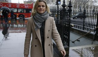 Zelda Perkins poses for a portrait prior to testifying before British lawmakers investigating workplace sexual harassment in London, Wednesday, March 28, 2018.Harvey Weinstein's former assistant says she tried to prevent him abusing women almost two decades ago, making him sign a legal agreement that required him to seek therapy and mend his ways. Zelda Perkins quit Weinstein's film company in 1998, along with a colleague who accused the movie mogul of trying to rape her. (AP Photo/Alastair Grant)
