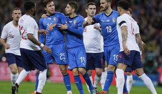 Italy's Federico Chiesa, 3rd from left, faces England's Kyle Walker, right, during the international friendly soccer match between England and Italy at the Wembley Stadium in London, Tuesday, March 27, 2018. (AP Photo/Kirsty Wigglesworth)