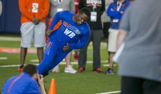 Wide receiver Antonio Callaway sprints during an agility drill during Florida's Pro Day at the University of Florida indoor practice Facility, Wednesday, March 28, 2018,  in Gainesville, Fla. Pro day is intended to showcase talent to NFL scouts for the upcoming draft. (Alan Youngblood/Star-Banner via AP)