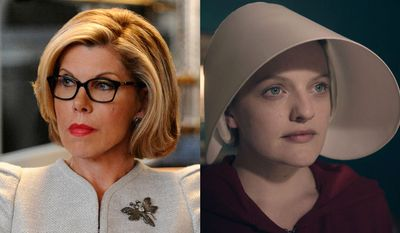 """Christine Baranski as Diane Lockhart in """"The Good Fight: Season One,"""" and Elisabeth Moss as June Osborne in """"The Handmaid's Tale: Season One,"""" now available in digital disc formats."""