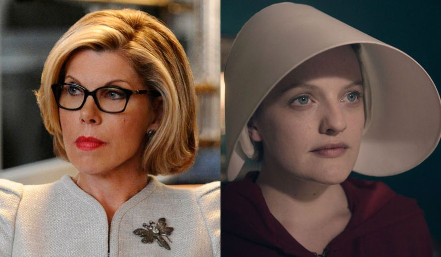 "Christine Baranski as Diane Lockhart in ""The Good Fight: Season One,"" and Elisabeth Moss as June Osborne in ""The Handmaid's Tale: Season One,"" now available in digital disc formats."