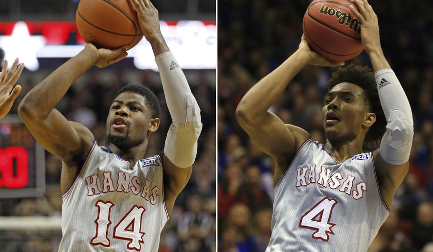 FILE - At left, in a Feb. 24, 2018, file photo, Kansas' Malik Newman (14) shoots against Texas Tech during the first half of an NCAA college basketball game in Lubbock, Texas. At right, in a Nov. 28, 2017, file photo, Kansas guard Devonte' Graham (4) shoots against Toledo during the first half of an NCAA college basketball game in Lawrence, Kan. Bill Self spent the past few months getting on Malik Newman for failing to take the pressure off Devonte Graham. Now, the transfer from Mississippi State is the Batman to Graham's Robin, giving the Jayhawks a potent one-two punch. (AP Photo/Orlin Wagner, File)