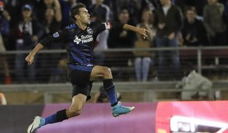 FILE - In this July 1, 2017, file photo, San Jose Earthquakes forward Chris Wondolowski leaps after scoring against the Los Angeles Galaxy during the second half of an MLS soccer match, in San Jose, Calif. Early in his 14th season in Major League Soccer, Chris Wondolowski no doubt knows the question is coming. About Landon Donovan. About the record. And about whether he'll break it. (AP Photo/Marcio Jose Sanchez, File)