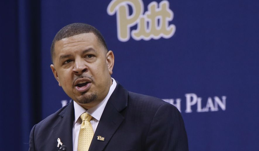 Jeff Capel during the news conference introducing him as the new mens basketball coach for the University of Pittsburgh's NCAA college team, WednesdayMarch 28, 2018, in Pittsburgh. Capel was an associate head coach at Duke for the past four years. He replaces Kevin Stallings. (AP Photo/Keith Srakocic)