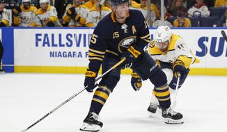 """FILE - In this March 19, 2018, file photo, Buffalo Sabres' Jack Eichel (15) carries the puck past Nashville Predators' Mike Fisher (12) during the third period of an NHL hockey game in Buffalo, N.Y. Eichel has difficulty assessing the sorry state of the Sabres, who haven't had a sniff at the playoffs in the three years since his celebrated arrival. """"When I got drafted, if you would've said we'd be in this position, I probably would've told you to give your head a shake,"""" Eichel told The Associated Press. (AP Photo/Jeffrey T. Barnes, File)"""