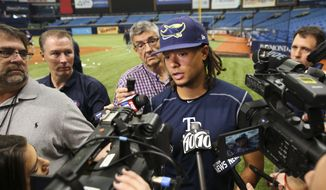 Tampa Bay Rays starting pitcher Chris Archer addresses after a baseball workout at Tropicana Field, Wednesday, March 28, 2018, in St. Petersburg, Fla. Archer is slated to take the mound on opening day against the Boston Red Sox on Thursday. (Dirk Shadd/Tampa Bay Times via AP)