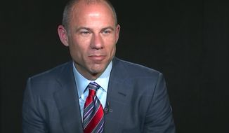 In this image from video, Michael Avenatti, attorney and spokesperson for adult film star Stormy Daniels, listens to a reporters' question during an interview at The Associated Press, Wednesday, March 21, 2018, in New York. Avenatti is seeking to depose the president and his attorney. Avenatti filed the motion in federal court in California. In the documents he seeks to depose President Donald Trump and his attorney Michael Cohen about a $130,000 payment made to Stormy Daniels days before the 2016 presidential election. (AP Photo/Joe Frederick)