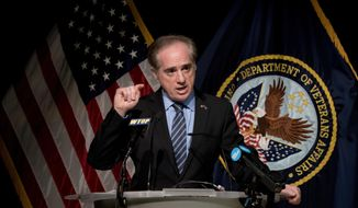 In this Wednesday, March 7, 2018, file photo, Veterans Affairs Secretary David Shulkin speaks at a news conference in Washington. On Wednesday, March 28, 2018, President Donald Trump fired Shulkin, and tweeted that White House doctor Ronny Jackson is his nominee to be the next Veterans Affairs secretary. (AP Photo/Andrew Harnik)