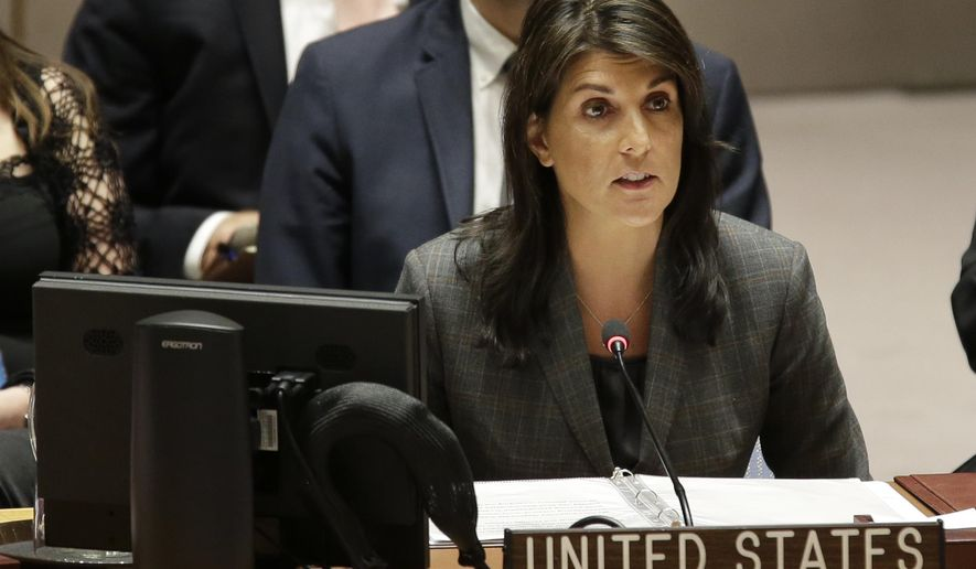 United States Ambassador to the United Nations Nikki Haley speaks during a Security Council meeting at U.N. headquarters, Wednesday, March 28, 2018. (AP Photo/Seth Wenig)