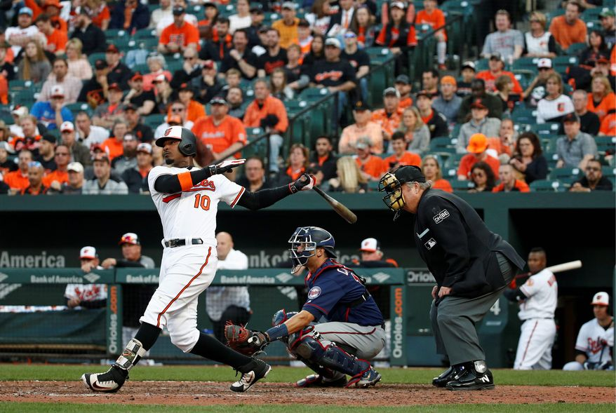 Baltimore Orioles' Adam Jones, left, watches his solo home run in front of Minnesota Twins catcher Jason Castro and home plate umpire Joe West during the 11th inning of an opening-day baseball game Thursday, March 29, 2018, in Baltimore. Baltimore won 3-2 in 11 innings. (AP Photo/Patrick Semansky)