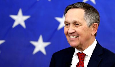 Former U.S. Rep. Dennis Kucinich smiles before speaking at a news conference announcing his run for Ohio governor, Wednesday, Jan. 17, 2018, in Middleburg Heights, Ohio. Kucinich said he would muster state resources to fight poverty and violence, boost arts and education and expand economic opportunity. (AP Photo/Tony Dejak)
