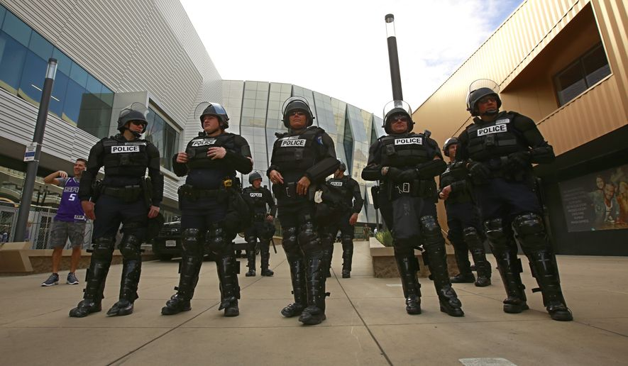 "Sacramento law enforcement officers have been securing Golden 1 Center because of demonstrations against the police shooting of Stephon Clark. President Trump has said, ""We'll always protect the people that have protected us,"" Mr. Trump said. ""We have to. And that goes for law enforcement. We're going to protect our law enforcement, our military, our vets."" (Associated Press/File)"