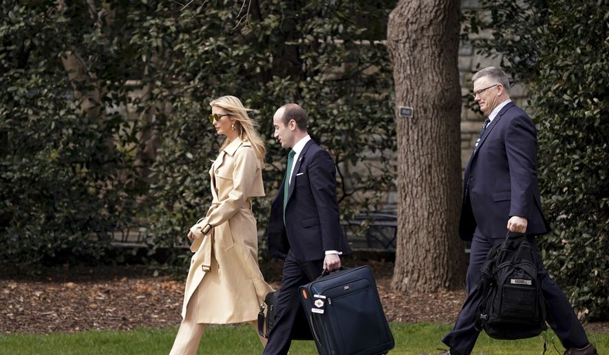 Ivanka Trump, the daughter of President Donald Trump, left, White House senior adviser Stephen Miller, second from left, and White House deputy national security adviser Rick Waddell, right, walk toward Marine One on the South Lawn of the White House in Washington, Thursday, March 29, 2018. (AP Photo/Andrew Harnik) ** FILE **