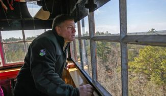 In this March 19, 2018 photo, Forest Fire Service Chief Greg McLaughlin looks out from Bass River Fire Tower, in Turkerton, N.J. (Craig Matthews /The Press of Atlantic City via AP)