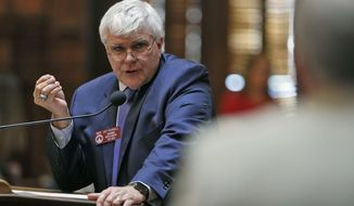 Rep. Jay Powell, R - Camilla, the Ways & Means committee chairman, answers questions after presenting SB 426, related to broadband infrastructure, which passed Thursday, March 29, 2018, in Atlanta. Thursday was the 40th and final day of the 2018 General Assembly. (Bob Andres/Atlanta Journal-Constitution via AP)
