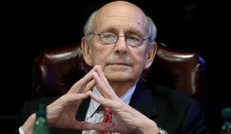 In this Feb. 13, 2017, photo, United States Supreme Court Justice Stephen Breyer listens during a forum at the French Cultural Center in Boston. (AP Photo/Steven Senne) **FILE**