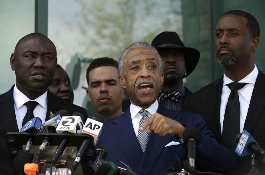 Rev. Al Sharpton talks to the media after giving the eulogy at the funeral of police shooting victim, Stephon Clark, Thursday, March 29, 2018, in Sacramento, Calif.  (AP Photo/Rich Pedroncelli) **FILE**