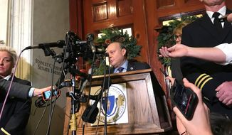 FILE - In this Friday, Dec. 1, 2017 file photo, Massachusetts Senate President Stan Rosenberg speaks to reporters outside his office at the Statehouse to reporters in Boston. The Thursday, March 29, 2018 indictment of Bryon Hefner, Rosenberg's husband, came months after The Boston Globe reported on allegations that Hefner sexually harassed or abused several men, some of whom had business before the Legislature. (AP Photo/Bob Salsberg)