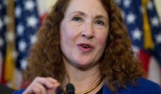 FILE - In this March 4, 2015, file photo, Rep. Elizabeth Esty, D-Conn. speaks on Capitol Hill in Washington about bipartisan legislation on gun safety. Esty is apologizing for failing to protect female employees who say they were harassed by her former chief of staff. Current chief of staff Timothy Daly says the Democratic congresswoman on Thursday, March 29, 2018, also personally repaid the federal government $5,000 in severance paid to now-fired Tony Baker. (AP Photo/Carolyn Kaster, File)