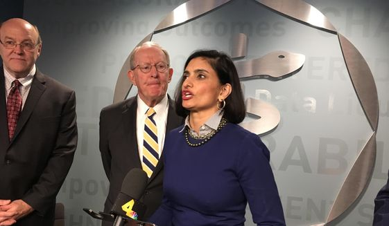 Centers for Medicare and Medicaid Services Administrator Seema Verma speaks to reporters Thursday, March 29, 2018, during a visit to the Center for Medical Interoperability in Nashville. (Associated Press) ** FILE **