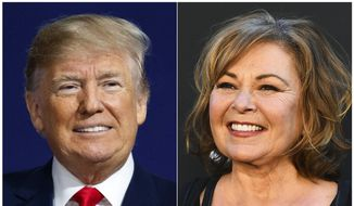 In this combination photo, U.S. President Donald Trump appears at a campaign rally in Moon Township, Pa., on March 10, 2018, left, and Roseanne Barr arrives at the Los Angeles premiere of 'Roseanne' in Burbank, Calif.  (AP Photo) **FILE**