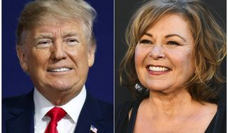 "In this combination photo, U.S. President Donald Trump appears at a campaign rally in Moon Township, Pa., on March 10, 2018, left, and Roseanne Barr arrives at the Los Angeles premiere of ""Roseanne"" in Burbank, Calif. Trump reached out to Roseanne Barr to congratulate her after the debut of her ABC sitcom reboot drew 18.4 million viewers. Speaking by telephone Thursday on ABC's ""Good Morning America,"" Barr said the call was ""pretty exciting."" She described the exchange as a ""friendly conversation about working in television and ratings."" (AP Photo)"