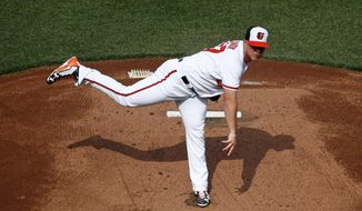 Baltimore Orioles starting pitcher Dylan Bundy throws to the Minnesota Twins in the first inning of an opening day baseball game, Thursday, March 29, 2018, in Baltimore. (AP Photo/Patrick Semansky)