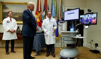 """FILE - In this Aug. 3, 2017, file photo, Veterans Affairs Secretary David Shulkin, right, and White House physician Dr. Ronny Jackson, left, watch as President Donald Trump talks with a patient during a Veterans Affairs Department """"telehealth"""" event in the Roosevelt Room of the White House in Washington. (AP Photo/Evan Vucci, File)"""