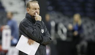 Mississippi State head coach Vic Schaefer watches during a practice session for the women's NCAA Final Four college basketball tournament, Thursday, March 29, 2018, in Columbus, Ohio. Mississippi State plays Louisville on Friday. (AP Photo/Ron Schwane)
