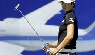 Sung Hyun Park, of South Korea, watches her putt on the 18th hole during the second round of the LPGA Tour ANA Inspiration golf tournament at Mission Hills Country Club, Friday, March 30, 2018, in Rancho Mirage, Calif. (AP Photo/Chris Carlson)
