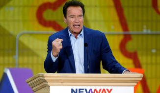 In this March 21, 2018, file photo, former California Gov. Arnold Schwarzenegger speaks at the first New Way California Summit in Los Angeles. (AP Photo/Damian Dovarganes, File)