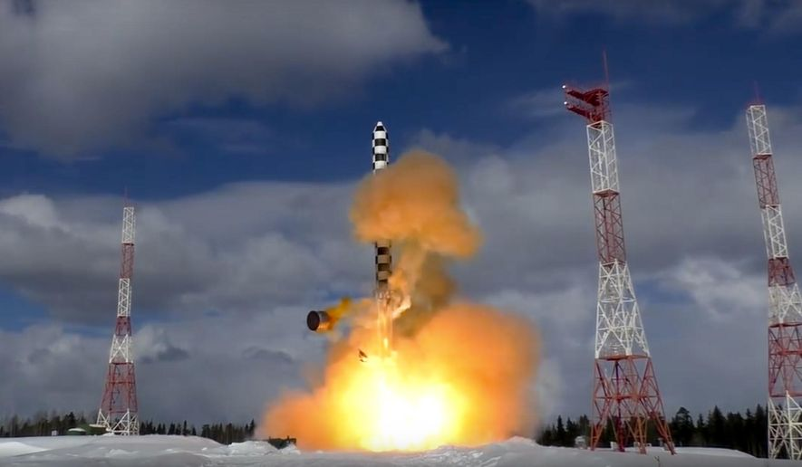 In this image from video provided by the Russian Defense Ministry Press Service, the Sarmat intercontinental ballistic missile blasts off during a test launch Friday from the Plesetsk launch pad in northwestern Russia, Friday, March 30, 2018. The Russian Defense Ministry said the launch was intended to test Sarmat's performance in the early stage of its flight. (Russian Defense Ministry Press Service via AP)