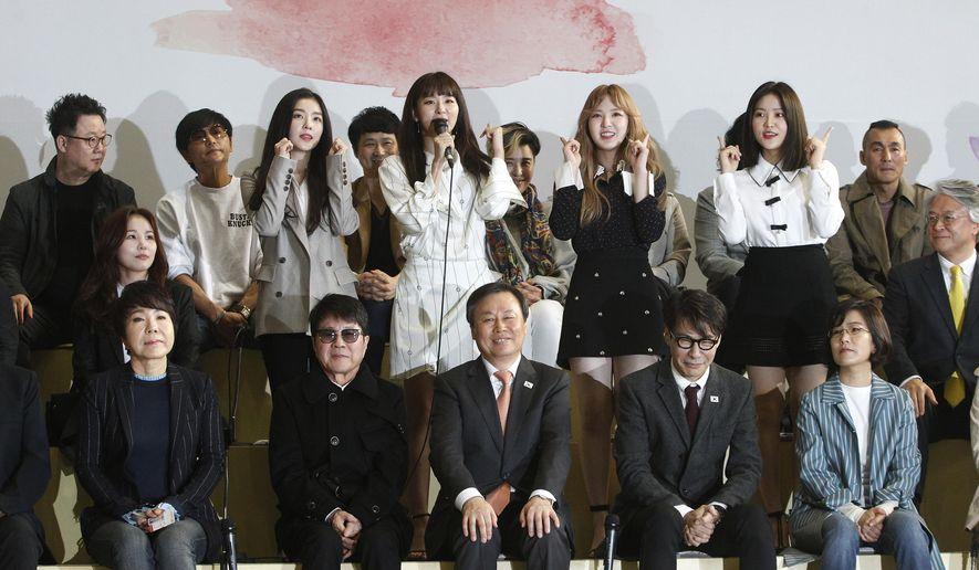 south korean popular girl band red velvet poses while speaking before leaving for north korea at