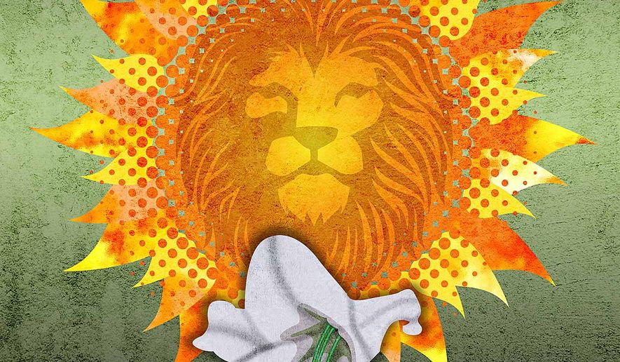 The Sun and the Lion Illustration by Greg Groesch/The Washington Times