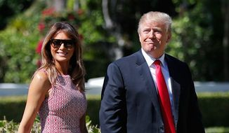 President Trump and first lady Melania Trump arrive for Easter services at Episcopal Church of Bethesda-by-the-Sea in Palm Beach, Florida. (Associated Press)