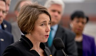 Massachusetts Attorney General Maura Healey speaks at a news conference near the White House, Monday, Feb. 26, 2018, in Washington. (AP Photo/Andrew Harnik) ** FILE **