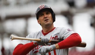 Washington Nationals' Ryan Zimmerman reacts during an at-bat in the first inning of a baseball game against the Cincinnati Reds, Sunday, April 1, 2018, in Cincinnati. (AP Photo/John Minchillo) **FILE**