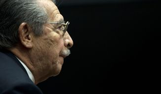 FILE - In this Jan. 23, 2013 file photo, Guatemala's former dictator Efrain Rios Montt (1982-1983) attends a pre-trial hearing at court in Guatemala City. According to his lawyer, Rios Montt died Sunday, April 1, 2018, in Guatemala City of a heart attack. (AP Photo/Moises Castillo, File)