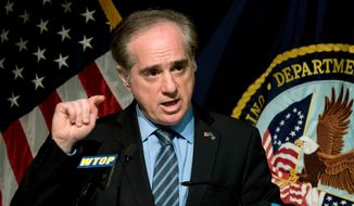 In this March 7, 2018, file photo, Veterans Affairs Secretary David Shulkin speaks at a news conference at the Washington Veterans Affairs Medical Center in Washington. Shulkin is making it clear he was fired from his job amid conflicting claims from the White House.  (AP Photo/Andrew Harnik, File)
