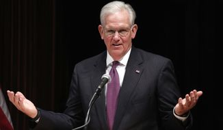 FILE - In this May 13, 2016, file photo, former Missouri Gov. Jay Nixon speaks during a news conference at the conclusion of the legislative session at the Capitol in Jefferson City, Mo. Nixon, now working as a private attorney after recently finishing 30 years in elected office, is to argue Tuesday, April 3, 2018 to the Missouri Supreme Court that the utility regulators he appointed wrongly rejected the power line proposed by Clean Line Energy Partners while relying on an incorrect lower court ruling written by a judge that Nixon also appointed. (AP Photo/Jeff Roberson, File)