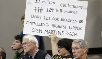 Julie Graves, a supporter of public access to Martin's Beach, displays a sign during a meeting of the State Lands Commission, in Sacramento, Calif., Tuesday, Dec. 6, 2016. After negotiating for a year with the property owner, Vinod Khosla, the co-founder of Sun Microsystems Inc., in an attempt to find a solution to allow the public access to the beach, the commission decided to begin exploring whether to use eminent domain to seize the property. (AP Photo/Rich Pedroncelli)